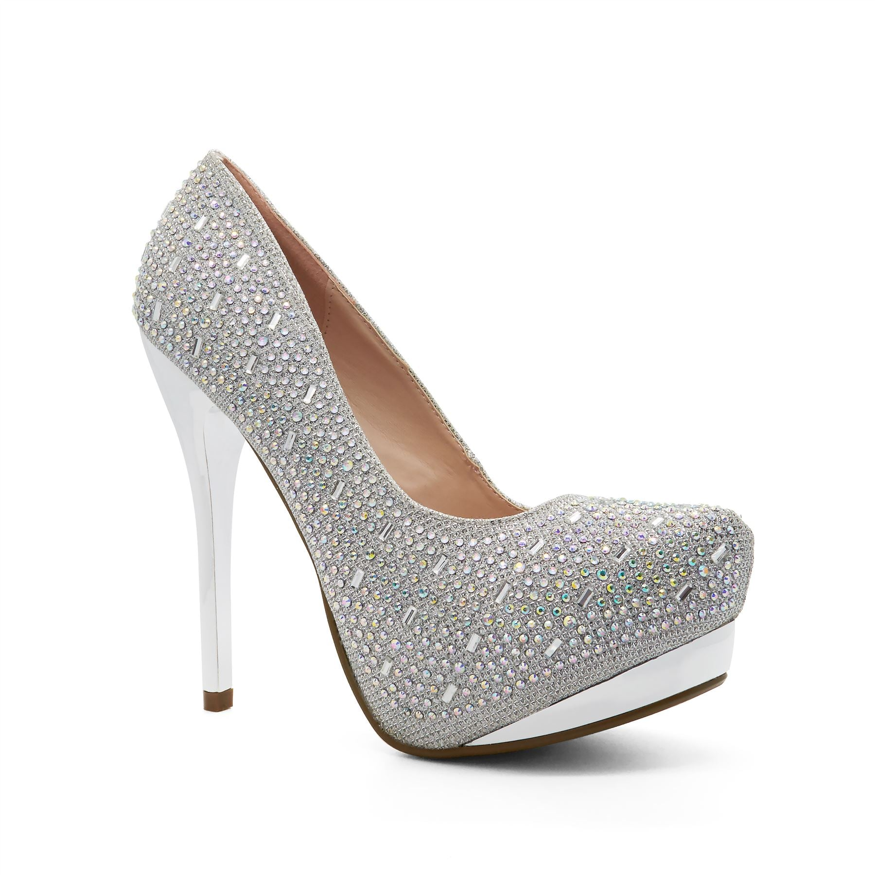 Silver Platform Heeled Court Shoes