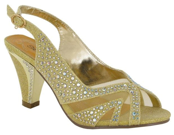Gold Diamante Block Heeled Sandals