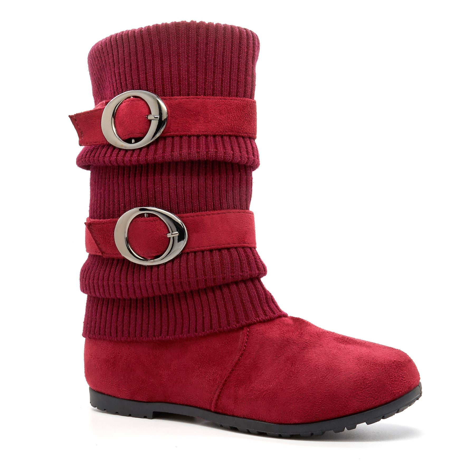 Red Faux Suede Knitted Calf Boots
