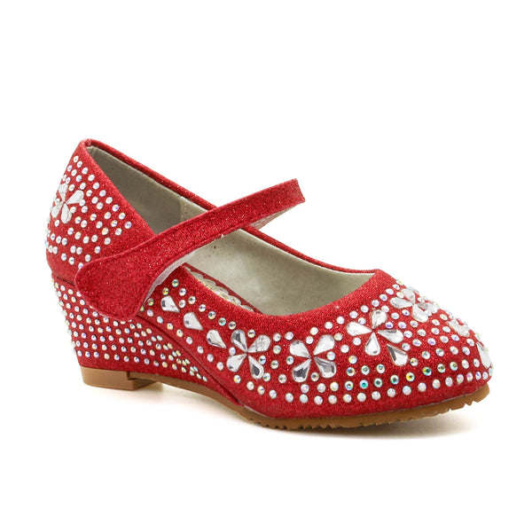Red Diamante Wedge Heeled Court Shoes