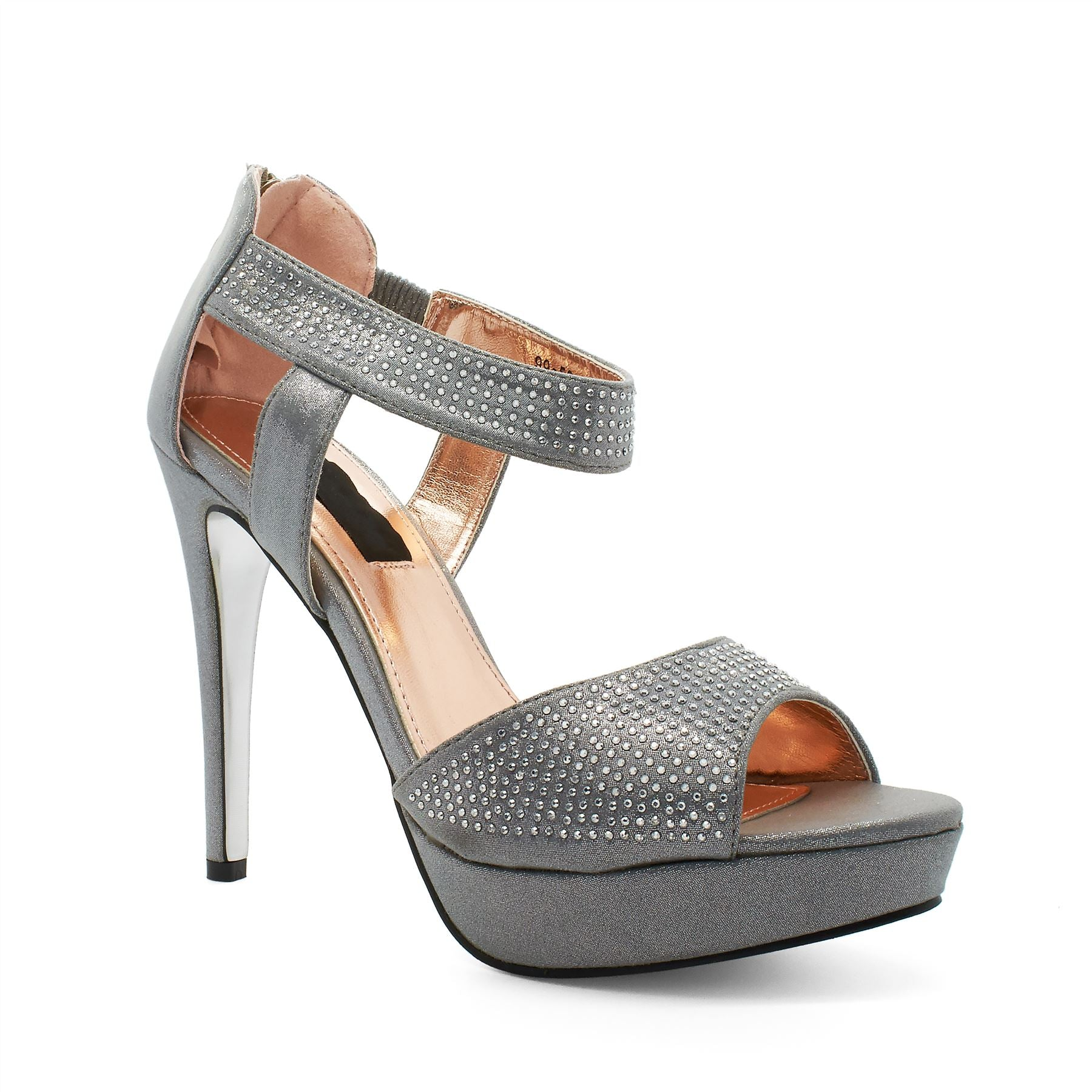 Silver Diamante Platform Heeled Sandals