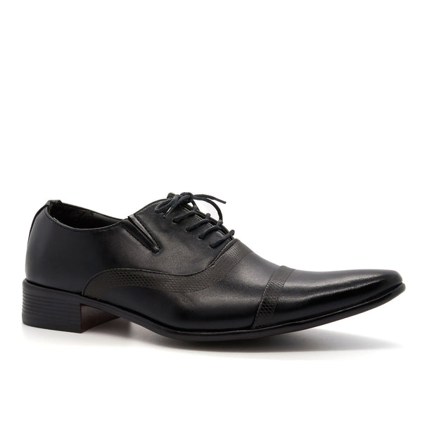 Black Faux Leather Oxford Shoes