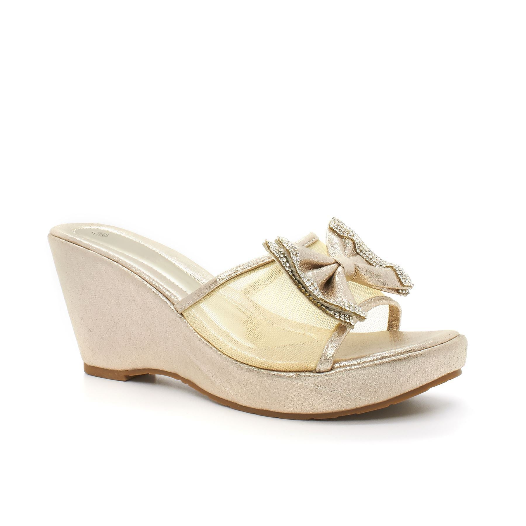 Gold Diamante Mesh Bow Wedge