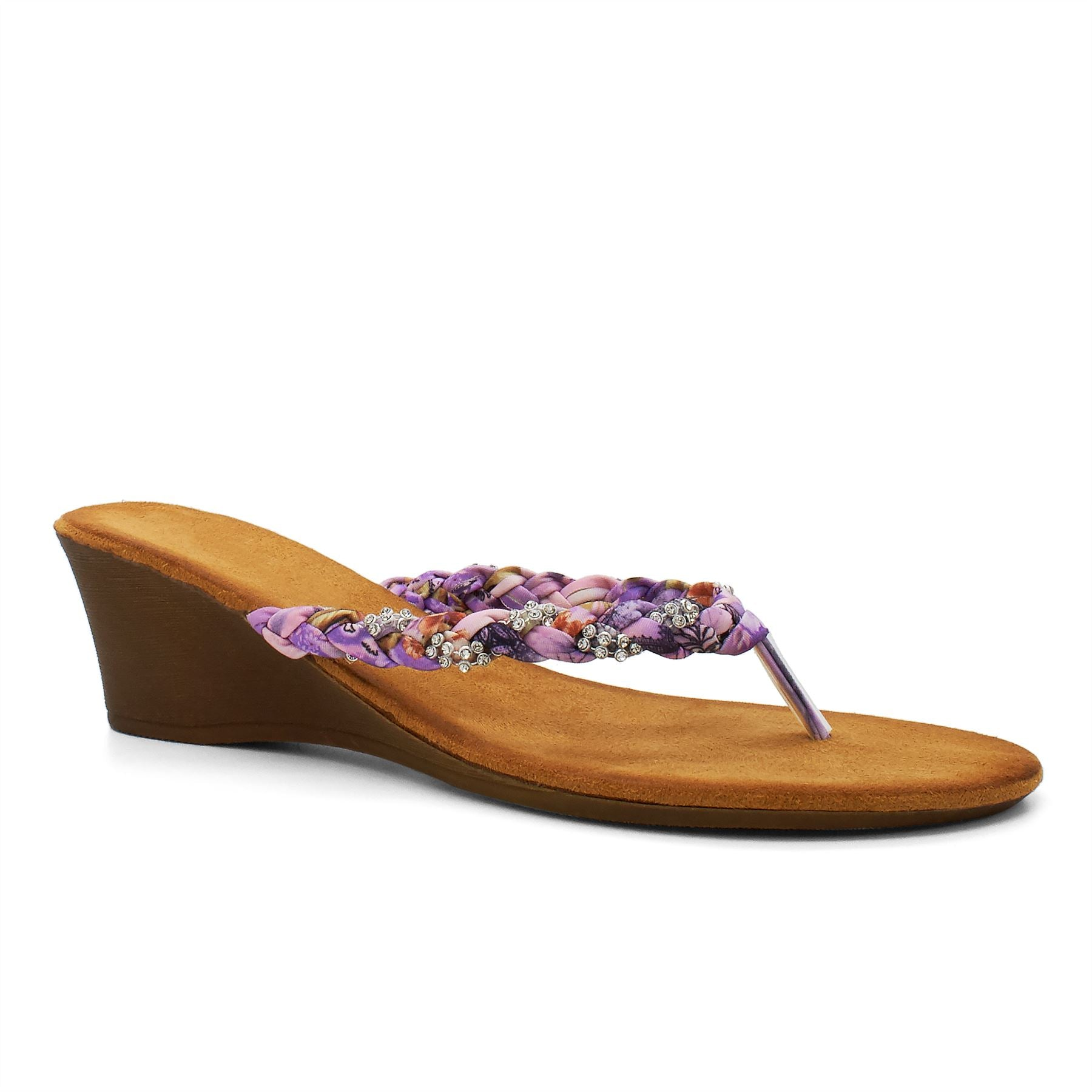 Purple Floral Embellished Wedge Sandals