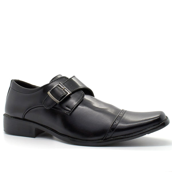 Black Derby Monk Shoes