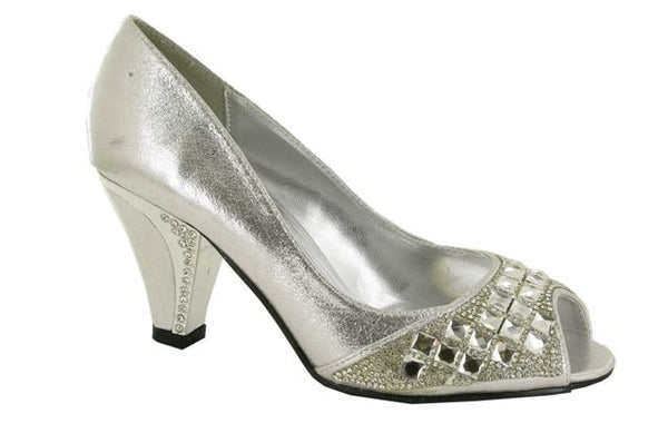Silver Diamante Peep Toe Court Shoes