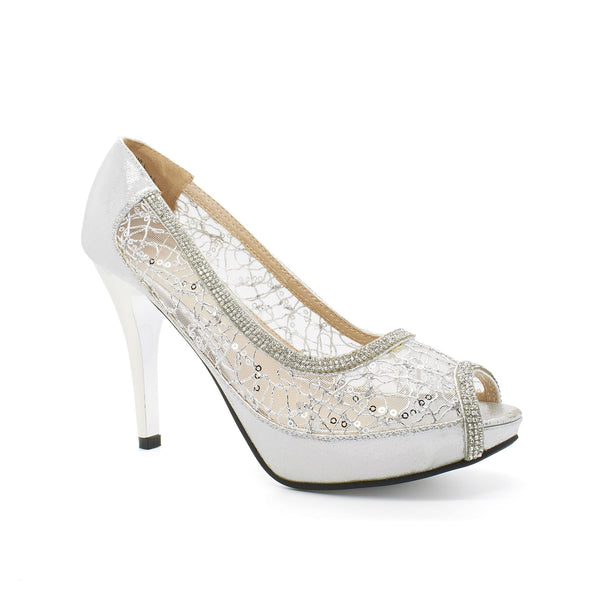 Silver Sequin Mesh Peep Toe Court