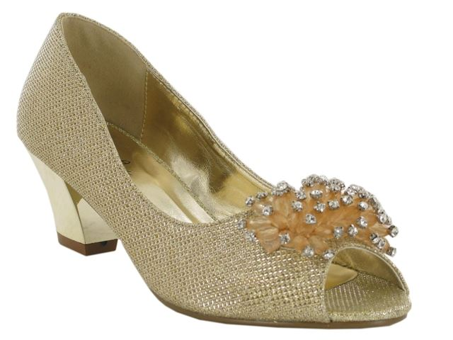 Gold Flower Detail Block Heeled Court Shoes