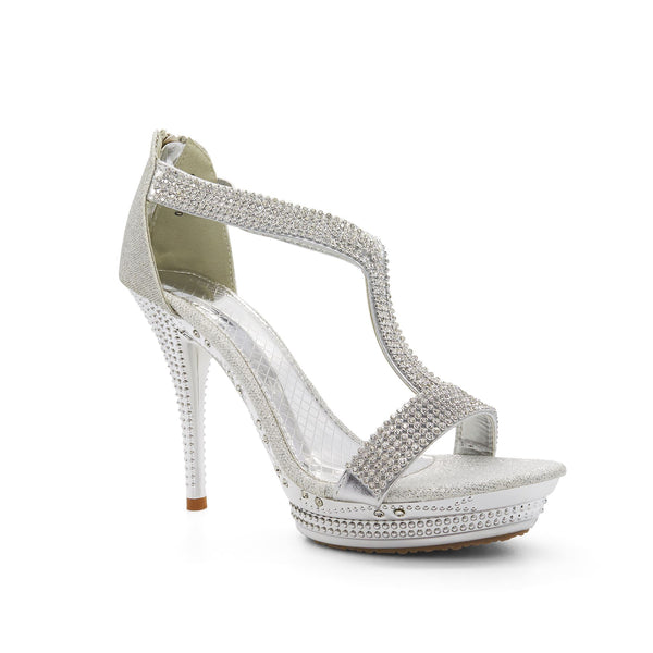 Silver Embellished T-Bar Heeled Sandals