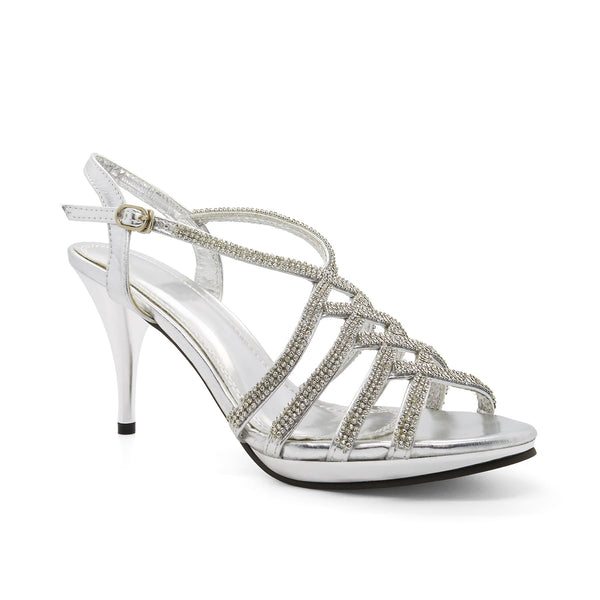 Silver Metallic Diamante Heeled Sandals