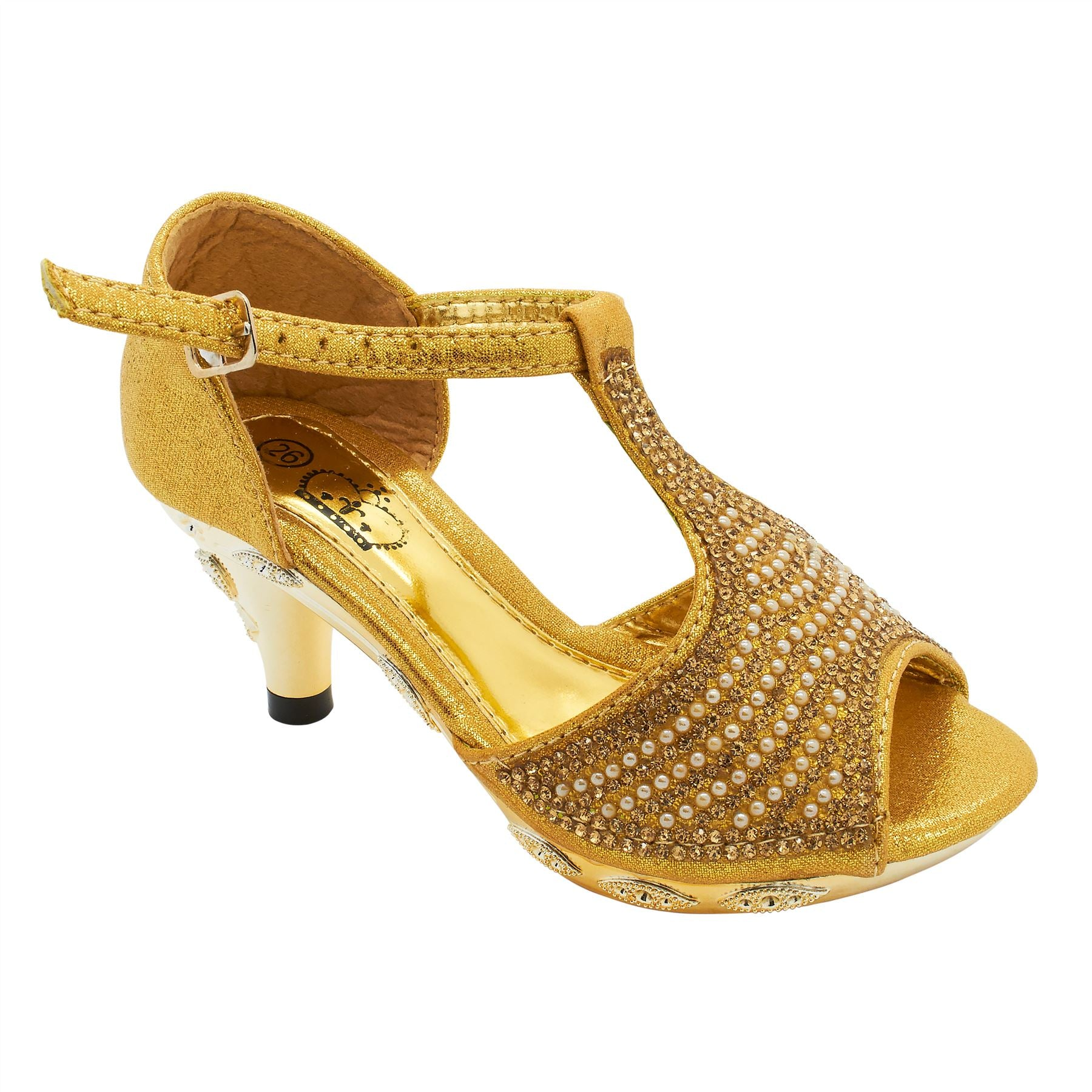 Gold Peep Toe Heeled Sandals