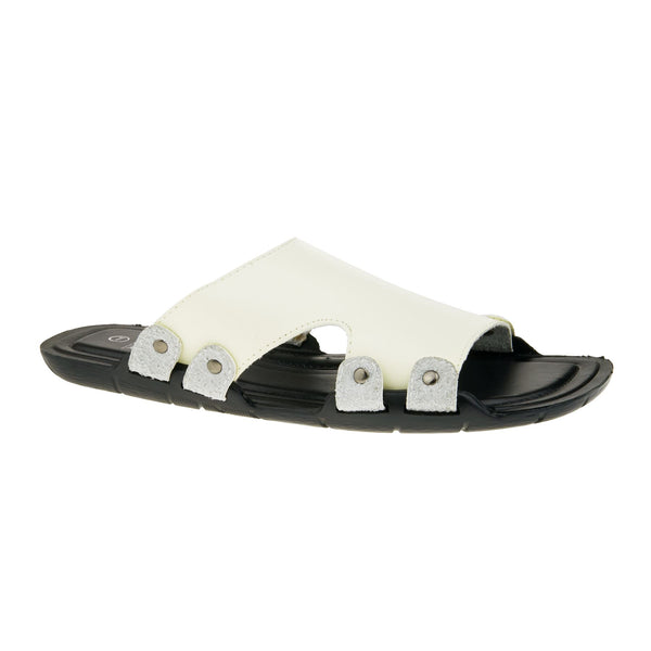 White Leather Look Sandals
