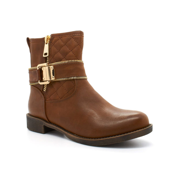 Brown Zip Strap Ankle Boot