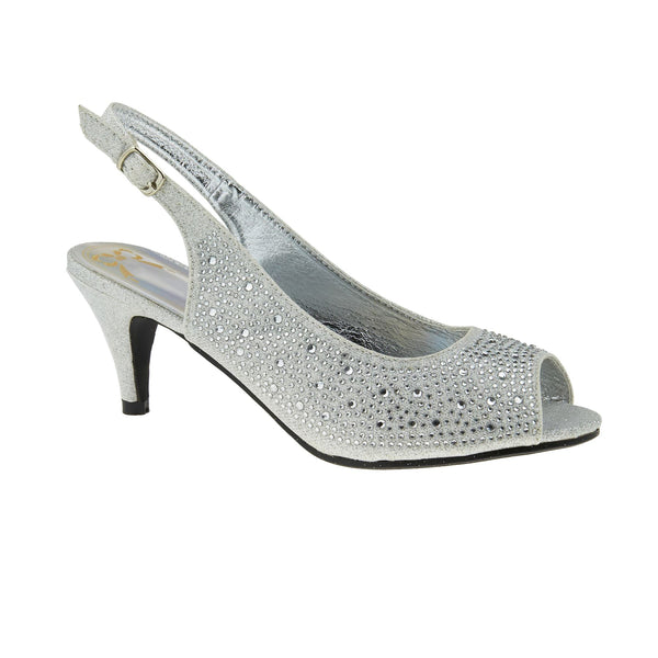 Silver All Over Diamante Heeled Sandals