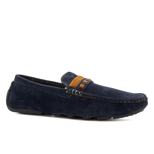 Blue Suedette Contrast Driving Shoes