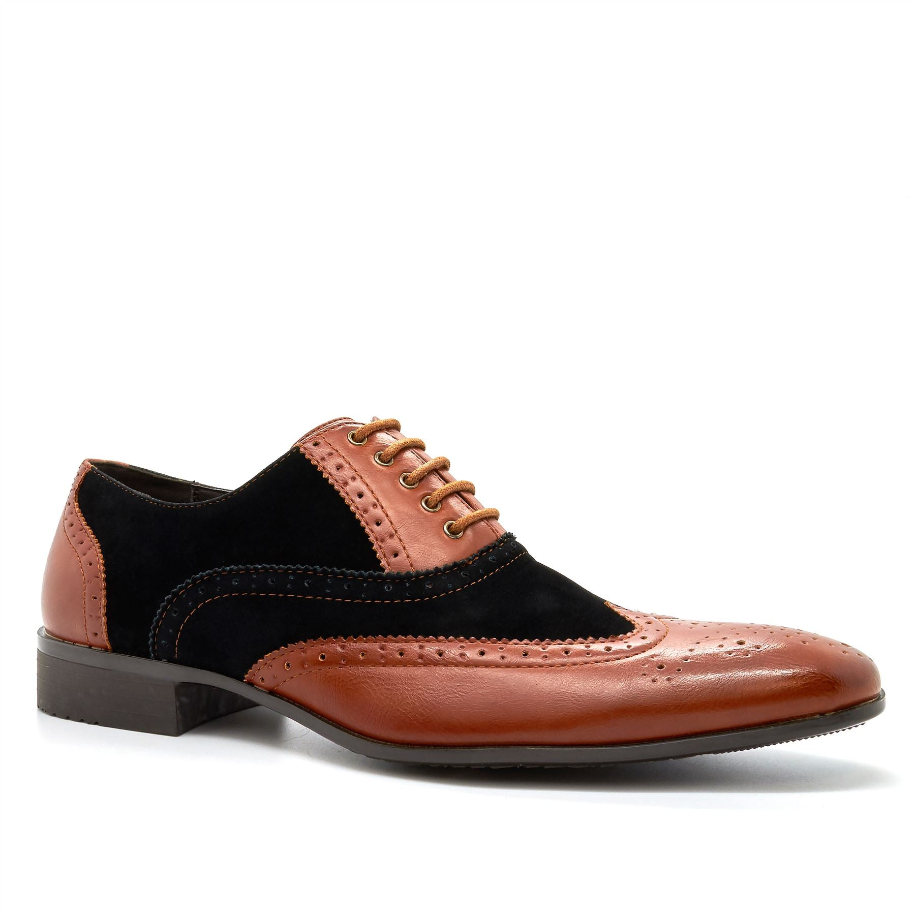 Brown & Black Lace Up Oxford Shoes