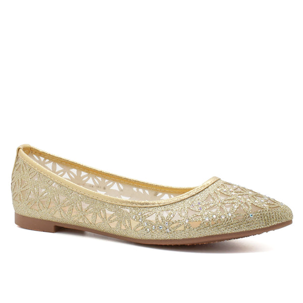 Gold Pointed Toe Ballet Flats