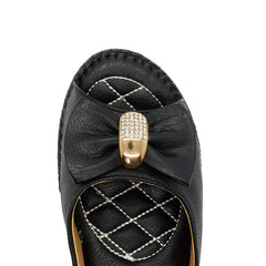 Black Bow Detail Wedge Heeled Mules