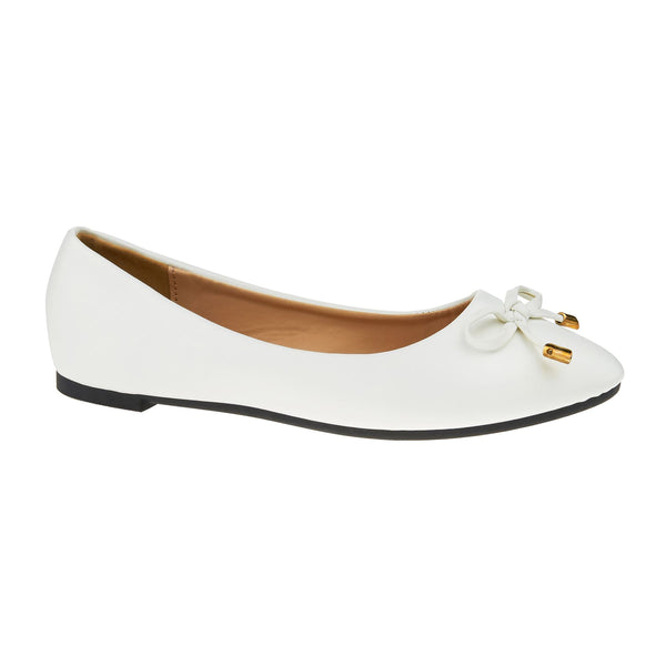 White Bow Detail Ballet Flats