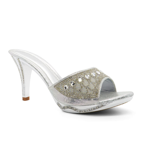 Silver Diamante Embellished Heeled Mules