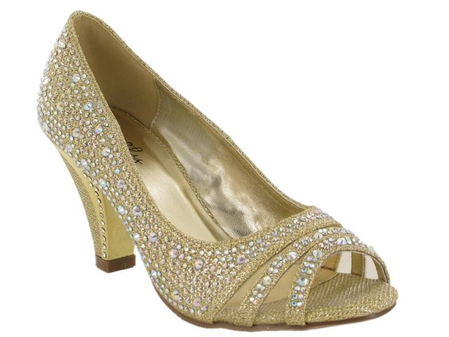 Gold Peep Toe Block Heeled Court Shoes