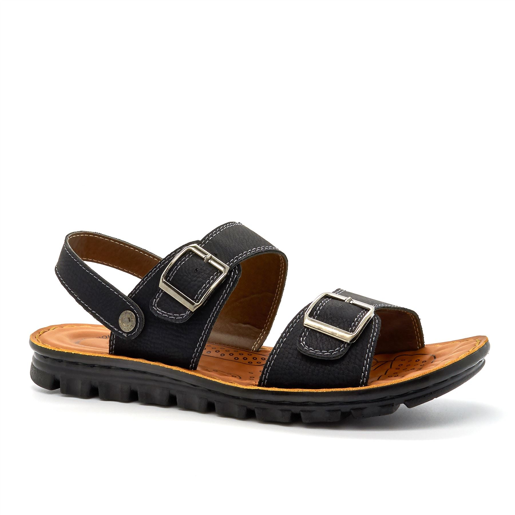 Black Double Strap Walking Sandals