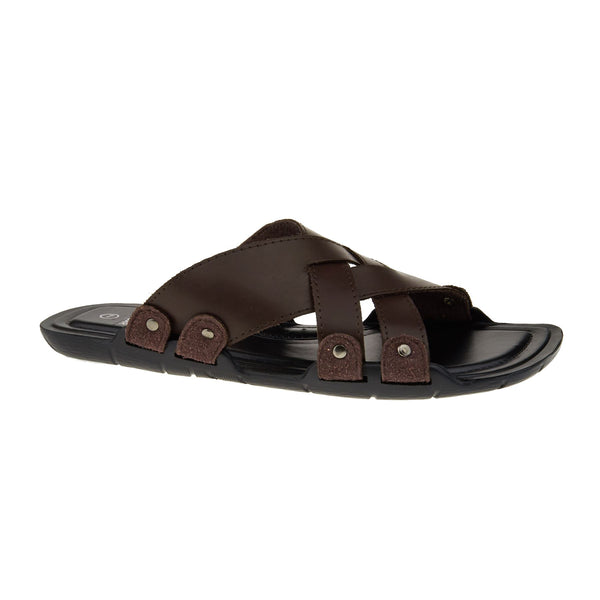 Brown Leather Look Cross Strap Sandals