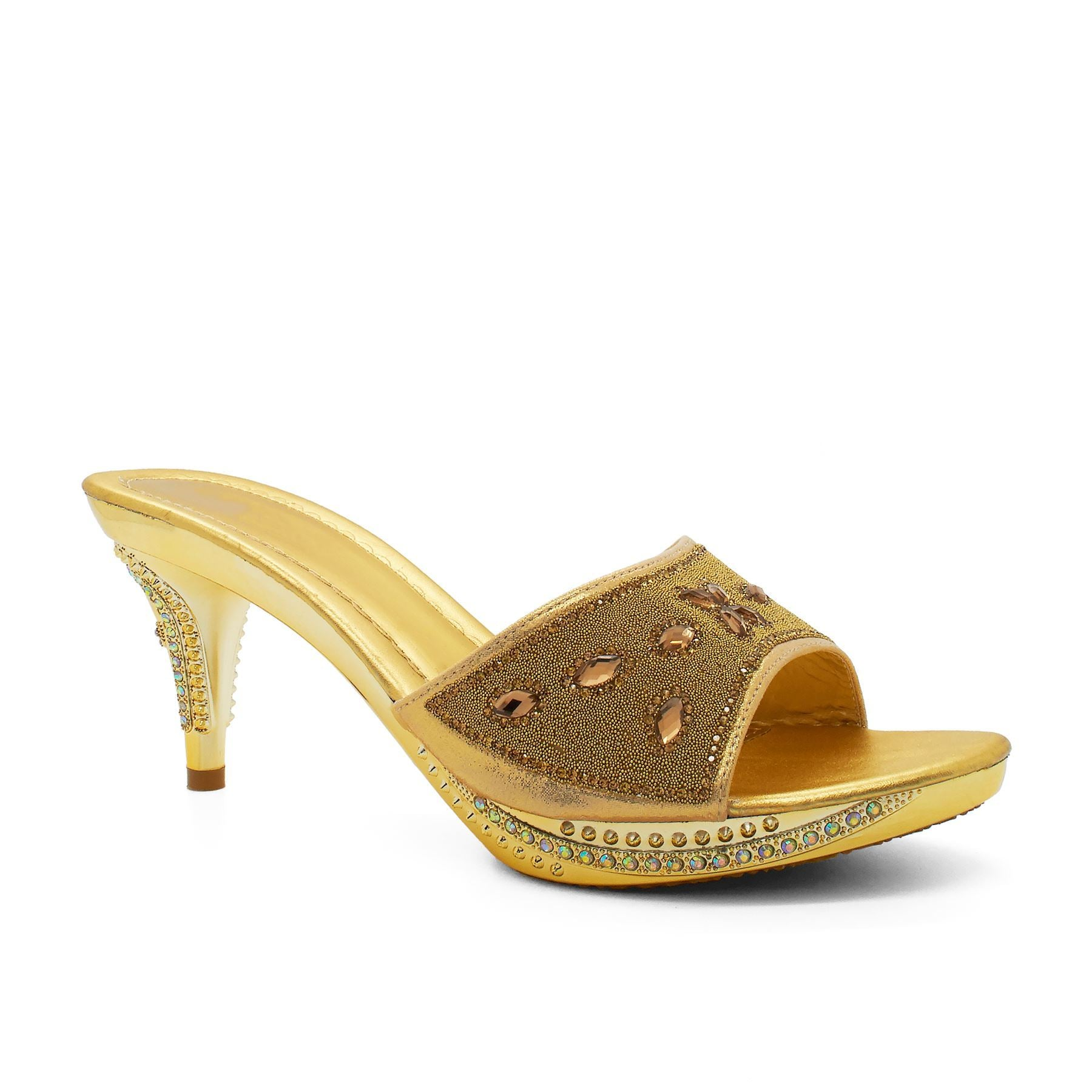 Gold Embellished Heeled Mule