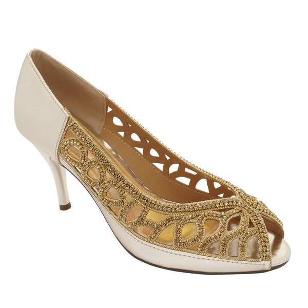 Gold Metallic Peep Toe Heeled Court Shoes