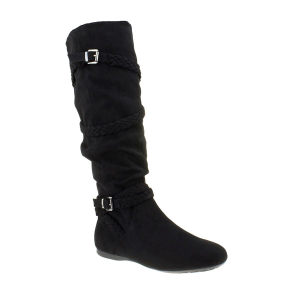 Black Suedette Buckle Detail Knee Boots