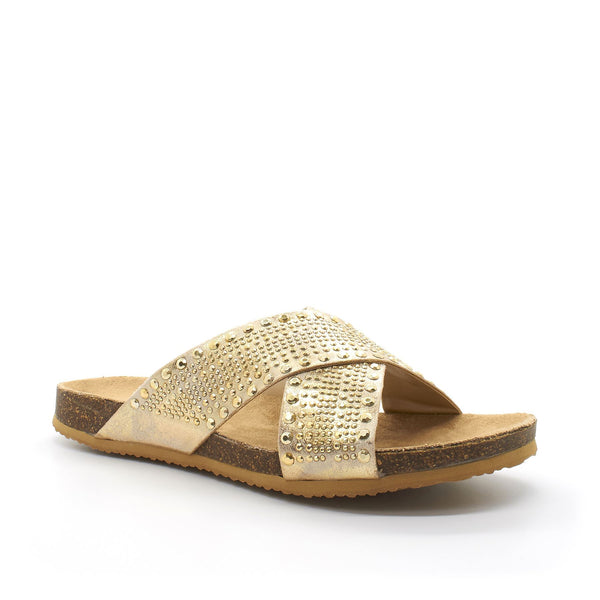 Gold Cross Strap Open Toe Flat