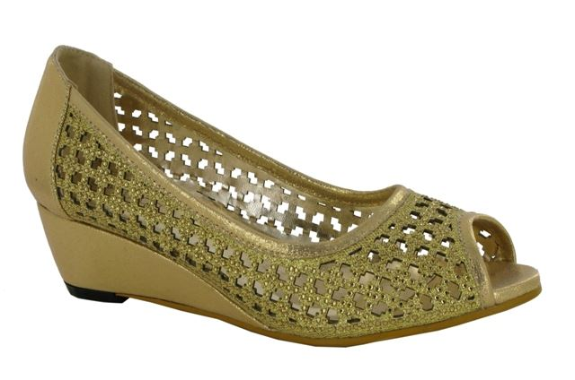 Gold Laser Cut Wedge Heeled Court Shoes