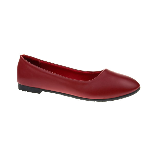 Red Faux Leather Ballet Flats
