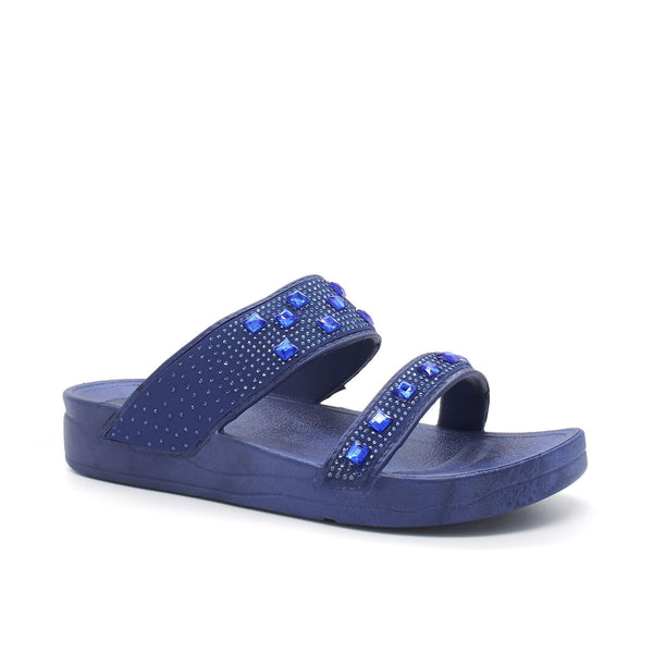 Blue Diamante Strap Slip On Slider