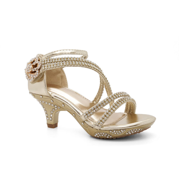 Gold Strappy Embellished Heeled Sandals