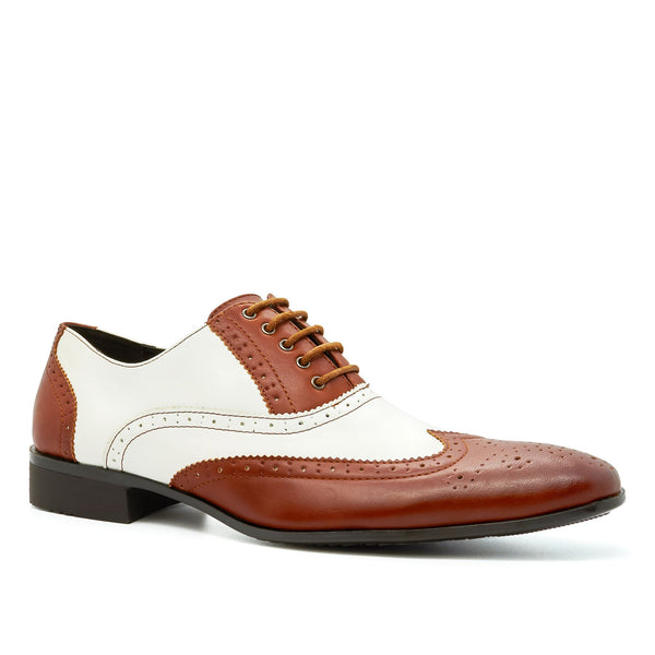 Brown & White Lace Up Oxford Shoes