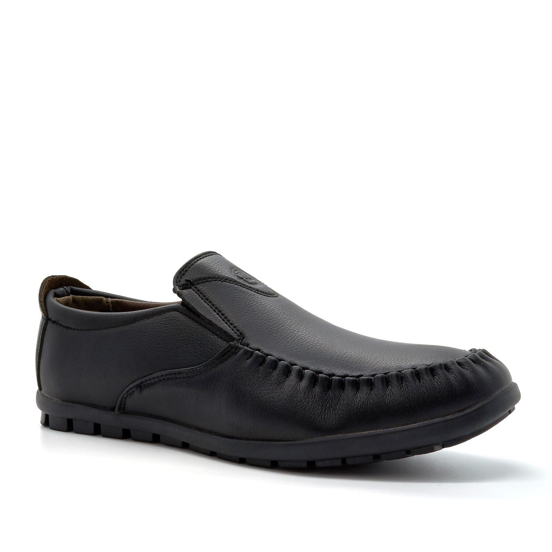 Black Embossed Logo Loafers