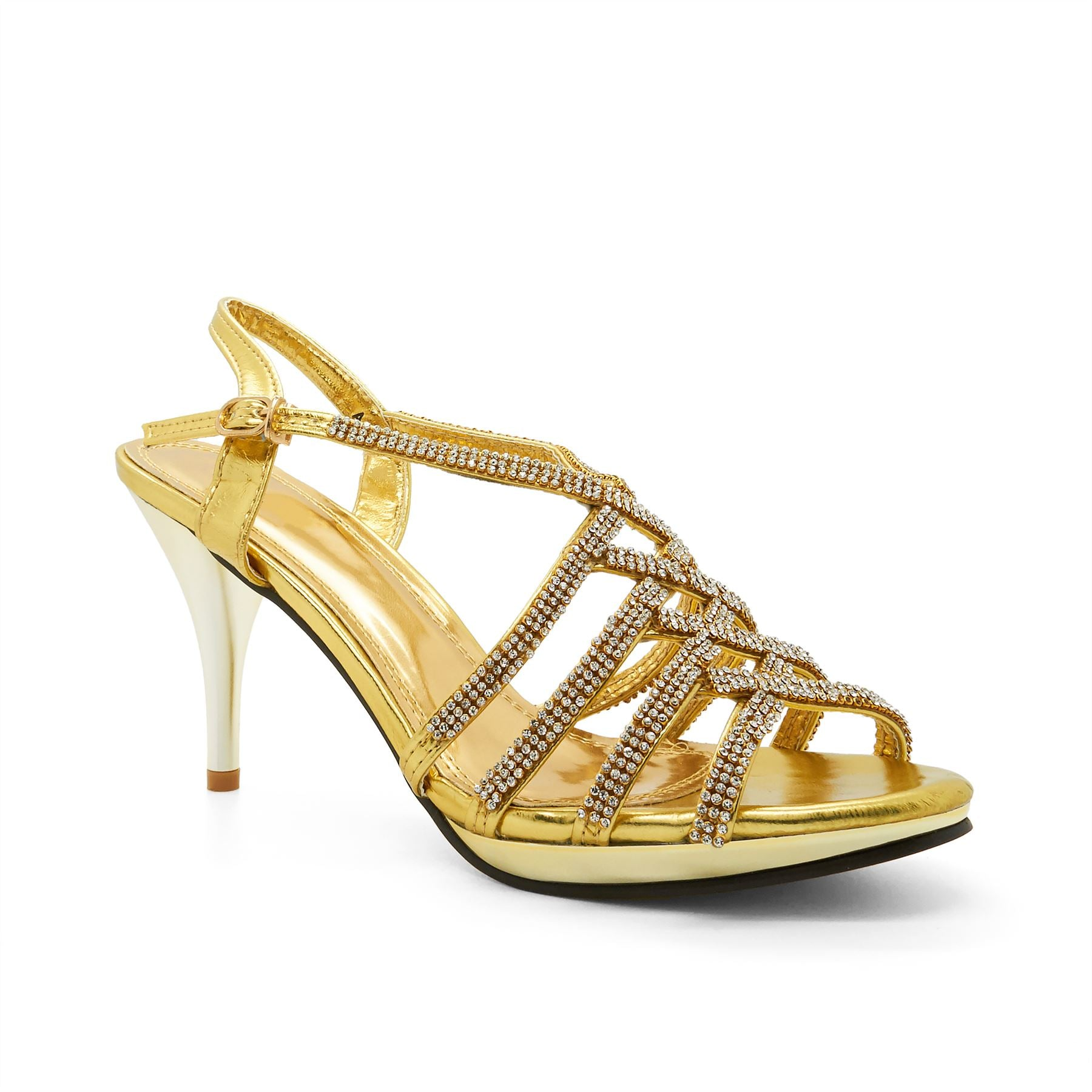 Gold Metallic Diamante Heeled Sandals