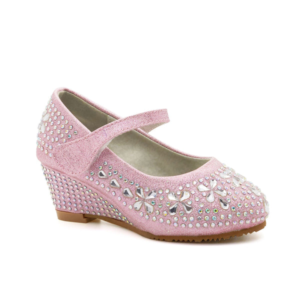 Pink Diamante Wedge Heeled Court Shoes