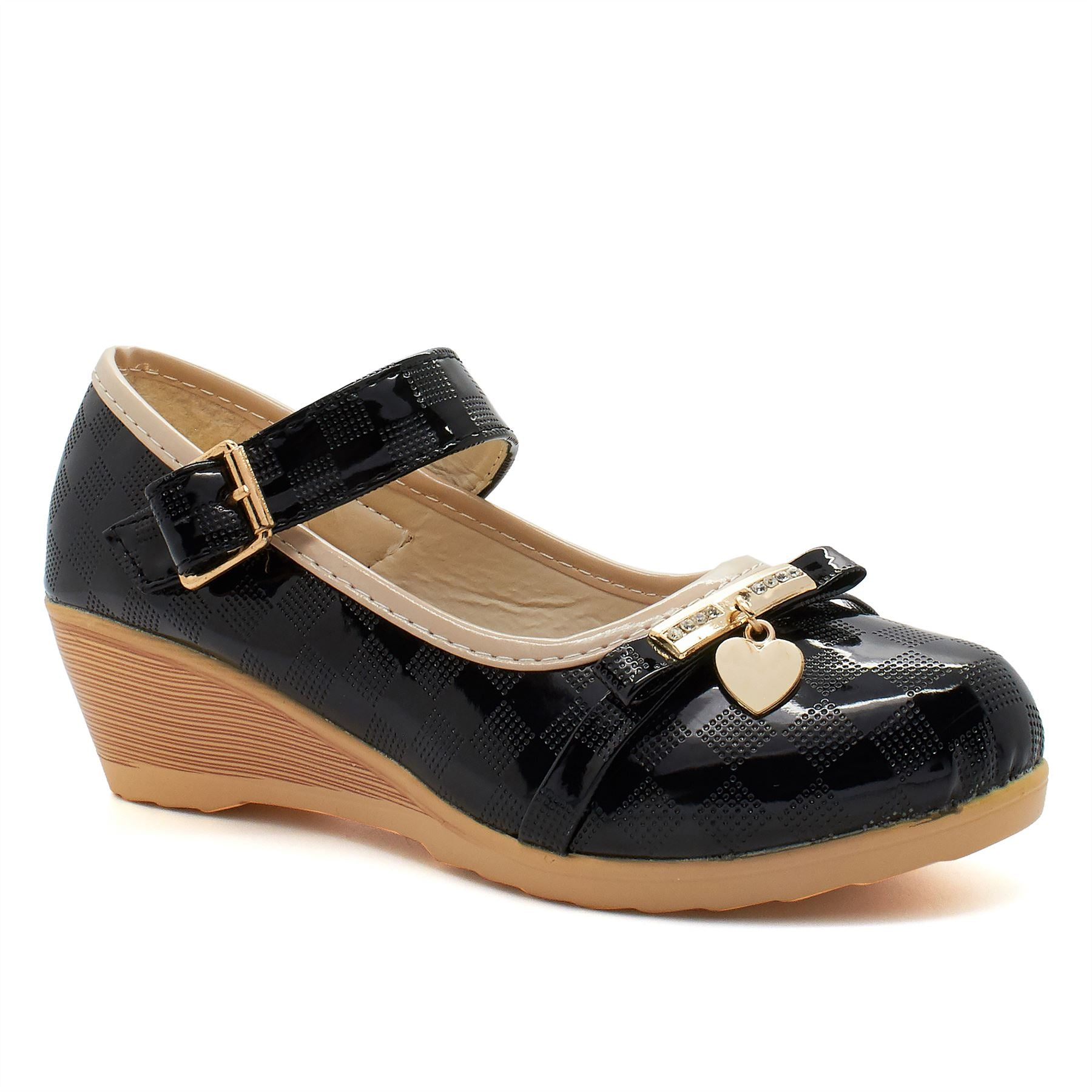 Black Patent Chequered Mary Janes