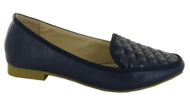 Blue Quilted Slip On Loafers