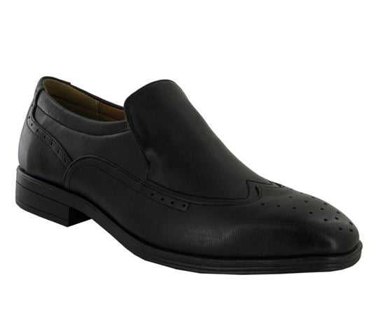 Black Wingtip Brogue Slip On Shoes