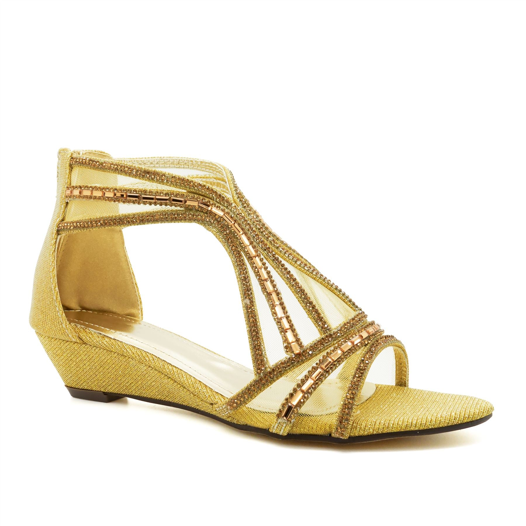 Gold Diamante Wedge Heeled Sandals