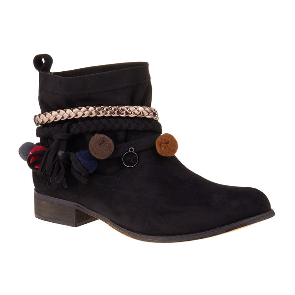 Black Pom Pom Detail Ankle Boots