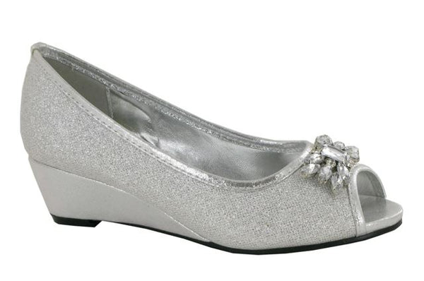 Silver Jewelled Wedge Heeled Court Shoes