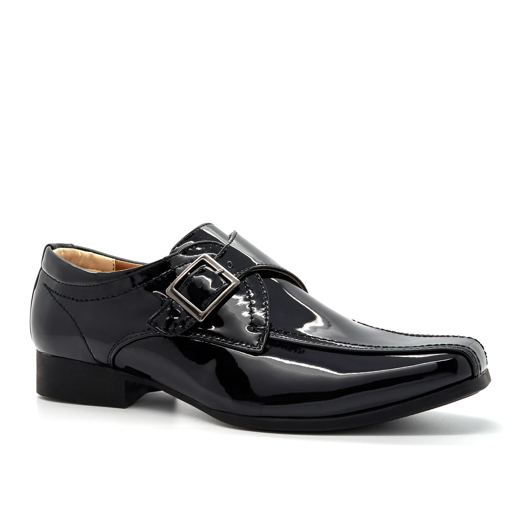 Black Patent Buckle Detail Loafers