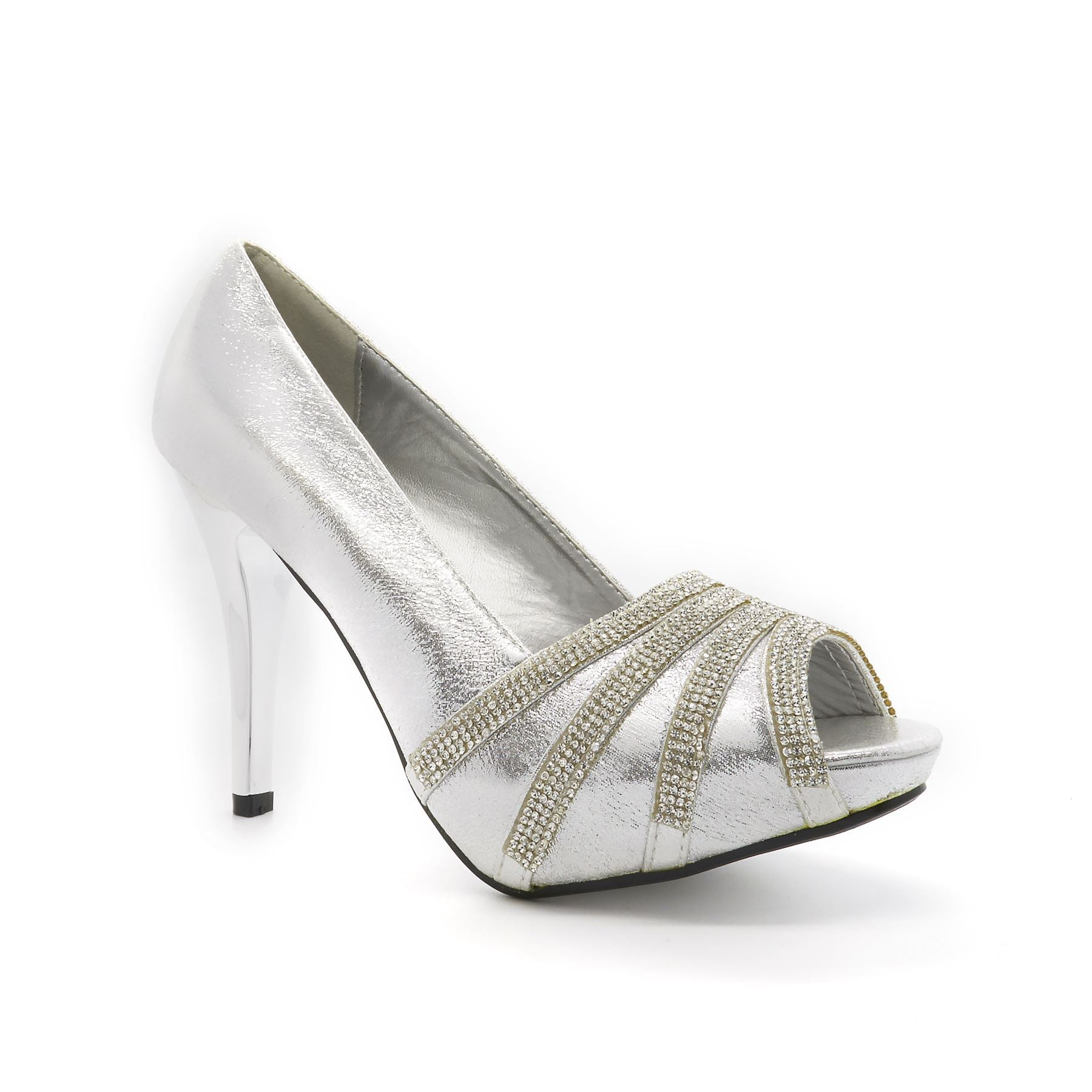 Silver Metallic Satin Open Toe High Heel