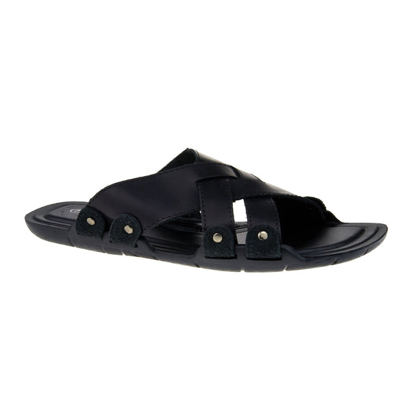 Black Leather Look Cross Strap Sandals