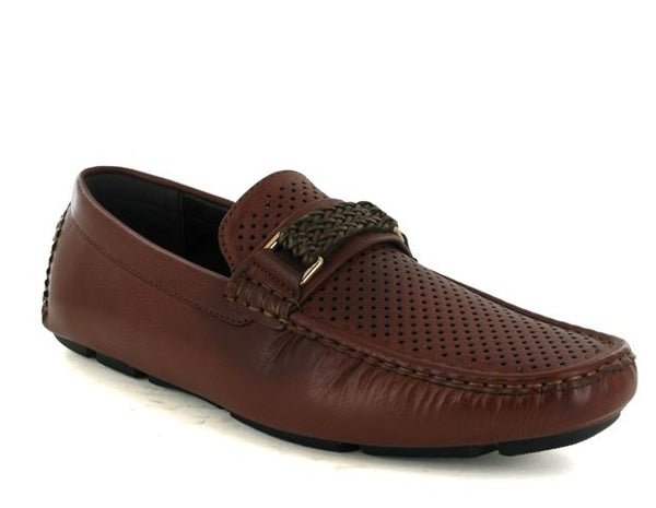 Brown Perforated Driving Shoes