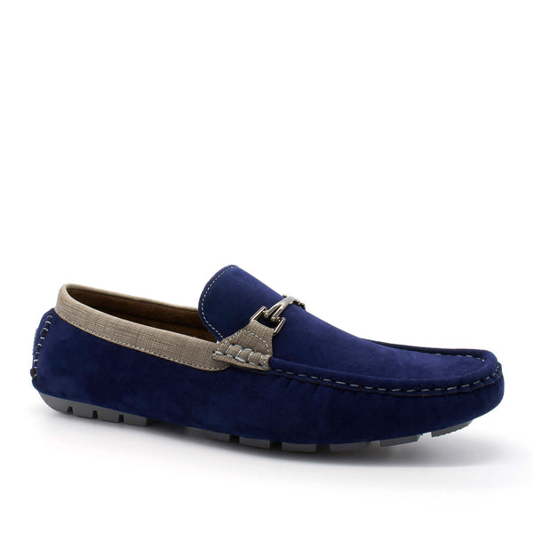 Blue Suedette Bar Buckle Driving Shoes